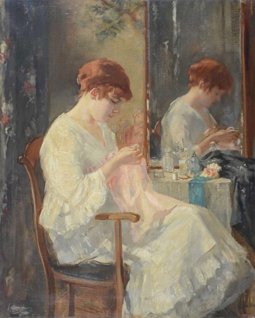 Interieur met handwerkende vrouw voor kaptafel', olieverf op doek, 76,5 x 60,5 cm - na 1914, Singer Laren, legaat uit particulier bezit 2012