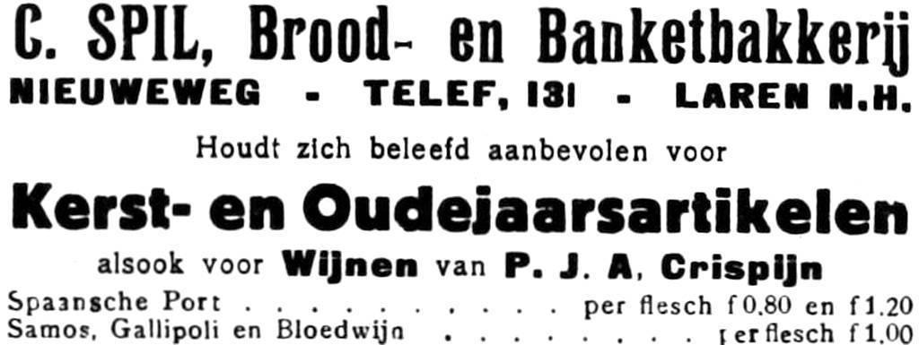 Advertentie uit de Bel van 23-12-1927