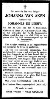 Aken, Johanna van - 1852 (1)